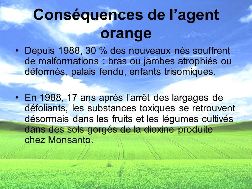 Conséquences de lagent orange Depuis 1988, 30 % des nouveaux nés souffrent de malformations : bras ou jambes atrophiés ou déformés, palais fendu, enfa
