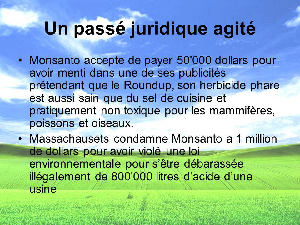 Un passé juridique agité Monsanto accepte de payer 50'000 dollars pour avoir menti dans une de ses publicités prétendant que le Roundup, son herbicide