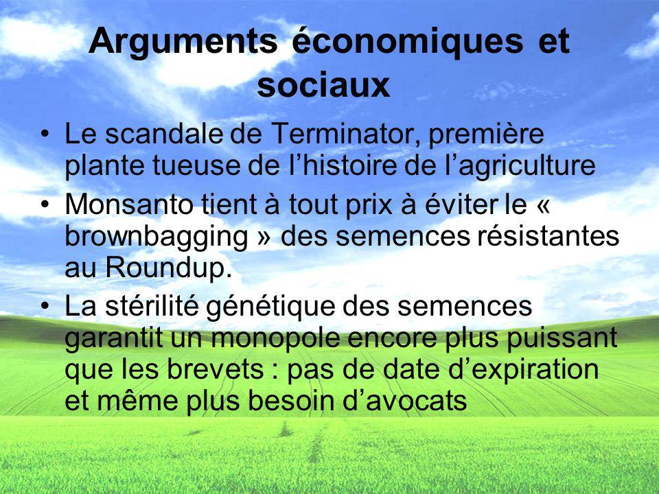 Arguments économiques et sociaux Le scandale de Terminator, première plante tueuse de lhistoire de lagriculture Monsanto tient à tout prix à éviter le