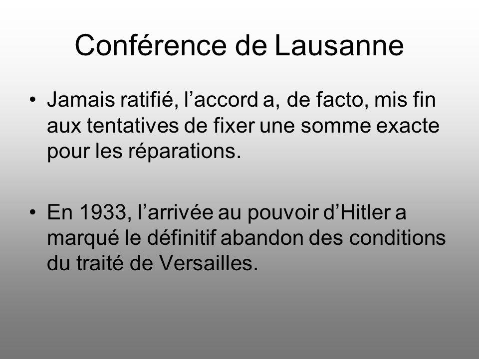 Conférence de Lausanne Suite à la dépression mondiale, les Alliés (sauf USA) et lAllemagne se sont mis daccord sur le fait que le paiement des réparat