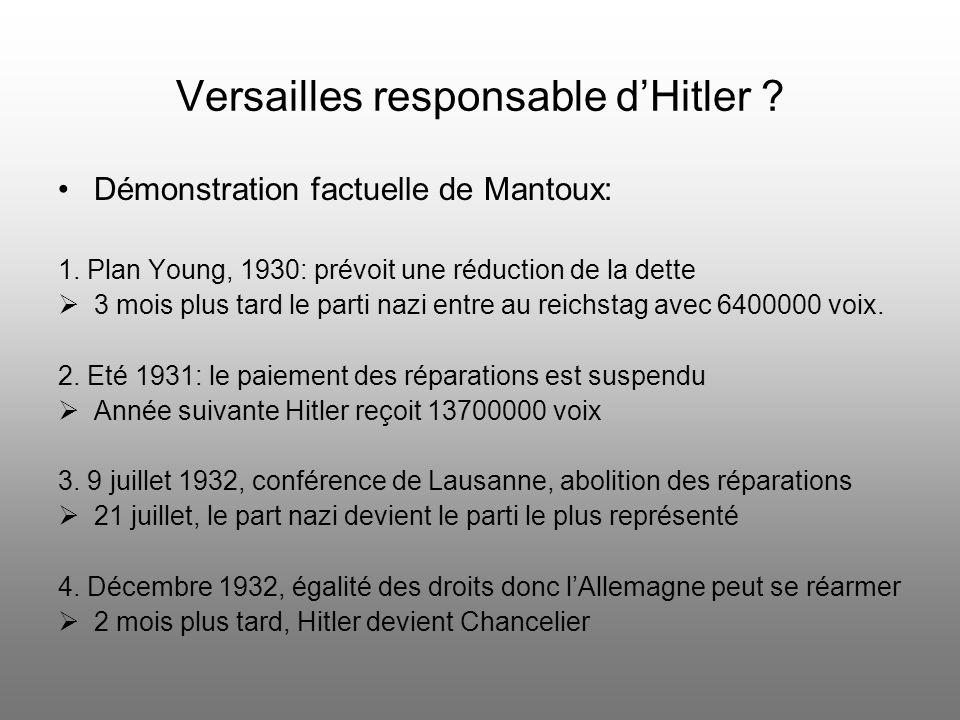 Versailles responsable de la Grande Dépression ? Mantoux se pose des question sur les « Conséquences économiques de la paix » Nationalisme et restrict