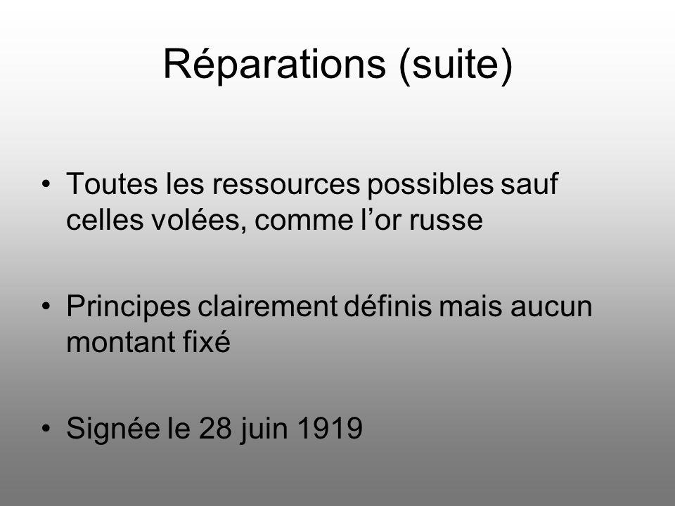 Réparations (suite) Toutes les ressources possibles sauf celles volées, comme lor russe Principes clairement définis mais aucun montant fixé Signée le 28 juin 1919