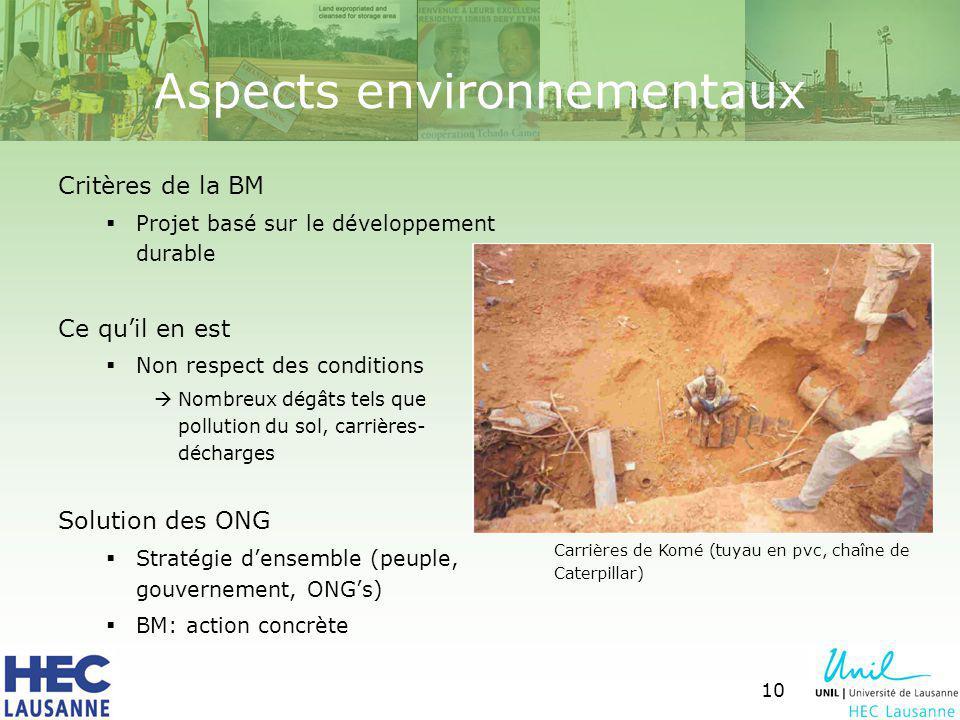 10 Aspects environnementaux Critères de la BM Projet basé sur le développement durable Ce quil en est Non respect des conditions Nombreux dégâts tels que pollution du sol, carrières- décharges Solution des ONG Stratégie densemble (peuple, gouvernement, ONGs) BM: action concrète Carrières de Komé (tuyau en pvc, chaîne de Caterpillar)