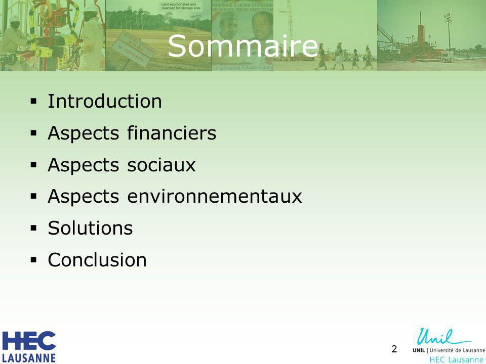 2 Sommaire Introduction Aspects financiers Aspects sociaux Aspects environnementaux Solutions Conclusion
