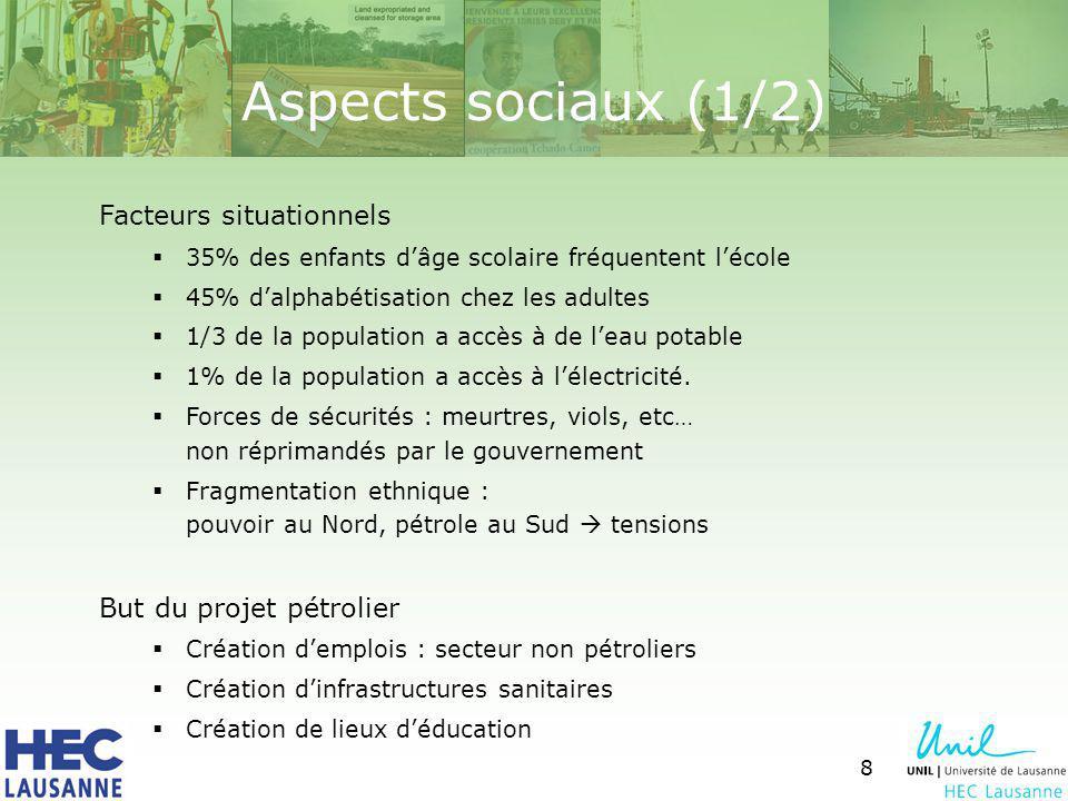8 Aspects sociaux (1/2) Facteurs situationnels 35% des enfants dâge scolaire fréquentent lécole 45% dalphabétisation chez les adultes 1/3 de la population a accès à de leau potable 1% de la population a accès à lélectricité.