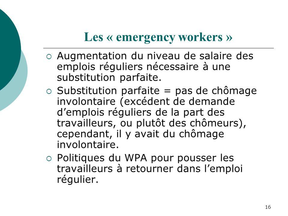 16 Les « emergency workers » Augmentation du niveau de salaire des emplois réguliers nécessaire à une substitution parfaite. Substitution parfaite = p