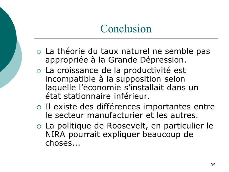 39 Conclusion La théorie du taux naturel ne semble pas appropriée à la Grande Dépression. La croissance de la productivité est incompatible à la suppo