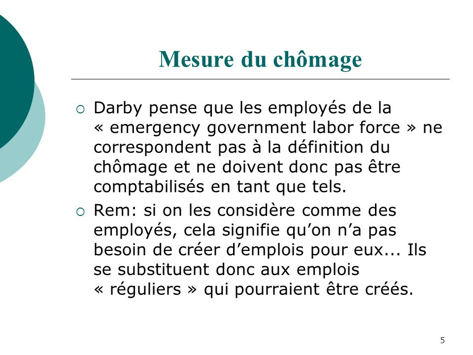 5 Mesure du chômage Darby pense que les employés de la « emergency government labor force » ne correspondent pas à la définition du chômage et ne doiv