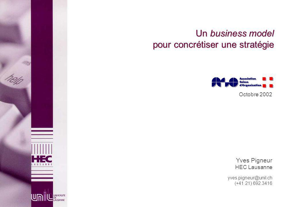 Un business model pour concrétiser une stratégie Octobre 2002 Yves Pigneur HEC Lausanne yves.pigneur@unil.ch (+41 21) 692.3416
