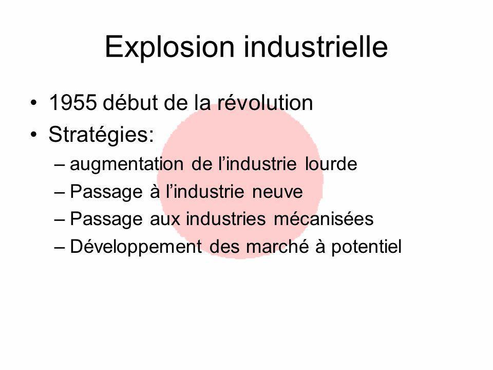 Explosion industrielle 1955 début de la révolution Stratégies: –augmentation de lindustrie lourde –Passage à lindustrie neuve –Passage aux industries mécanisées –Développement des marché à potentiel