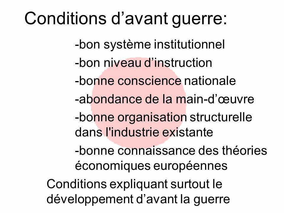 Conditions davant guerre: -bon système institutionnel -bon niveau dinstruction -bonne conscience nationale -abondance de la main-dœuvre -bonne organis