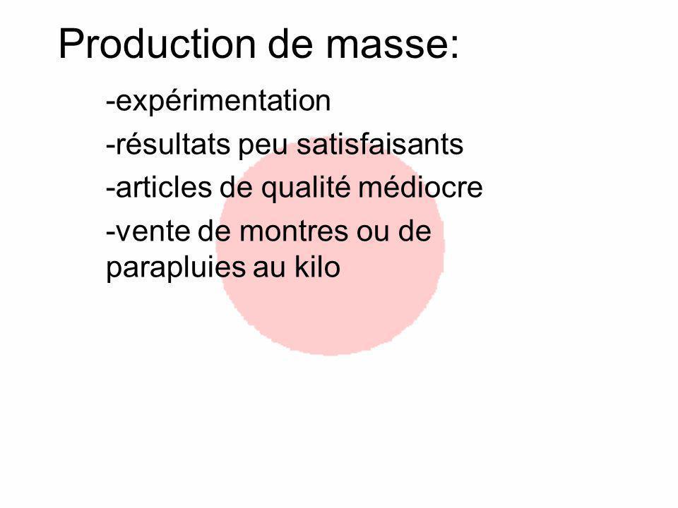 Production de masse: -expérimentation -résultats peu satisfaisants -articles de qualité médiocre -vente de montres ou de parapluies au kilo