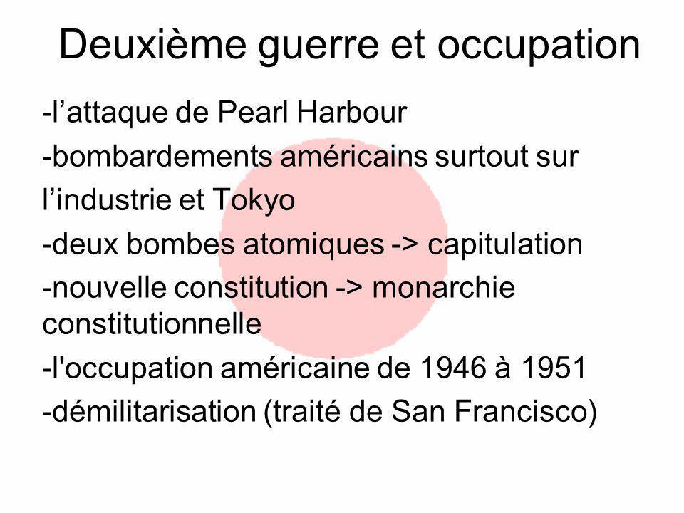 Deuxième guerre et occupation -lattaque de Pearl Harbour -bombardements américains surtout sur lindustrie et Tokyo -deux bombes atomiques -> capitulation -nouvelle constitution -> monarchie constitutionnelle -l occupation américaine de 1946 à 1951 -démilitarisation (traité de San Francisco)