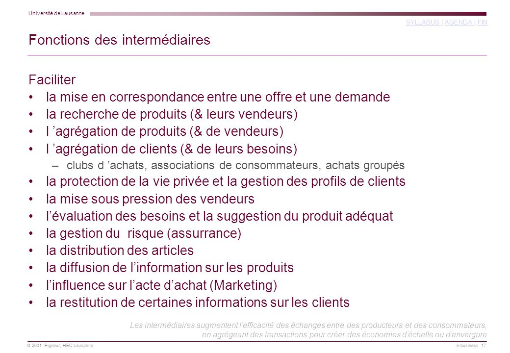 Université de Lausanne SYLLABUS SYLLABUS | AGENDA | FINAGENDA FIN © 2001 Pigneur, HEC Lausanne e-business 17 Fonctions des intermédiaires Faciliter la