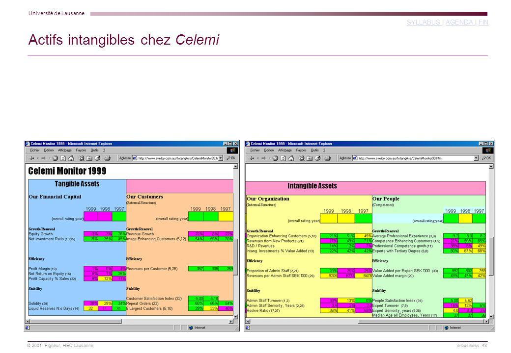 Université de Lausanne SYLLABUS SYLLABUS | AGENDA | FINAGENDA FIN © 2001 Pigneur, HEC Lausanne e-business 43 Actifs intangibles chez Celemi