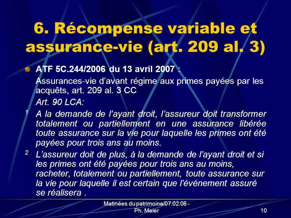 Matinées du patrimoine/07.02.08 - Ph. Meier9 5. L ATF 5C.271/2005 du 23 mars 2006 [Art.