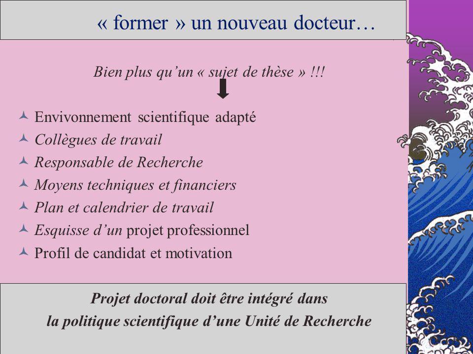 « former » un nouveau docteur… Bien plus quun « sujet de thèse » !!! Envivonnement scientifique adapté Collègues de travail Responsable de Recherche M