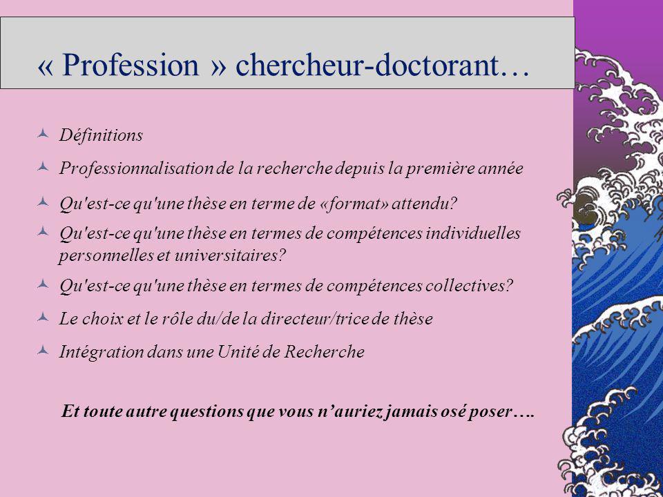 « Profession » chercheur-doctorant… Définitions Professionnalisation de la recherche depuis la première année Qu'est-ce qu'une thèse en terme de «form