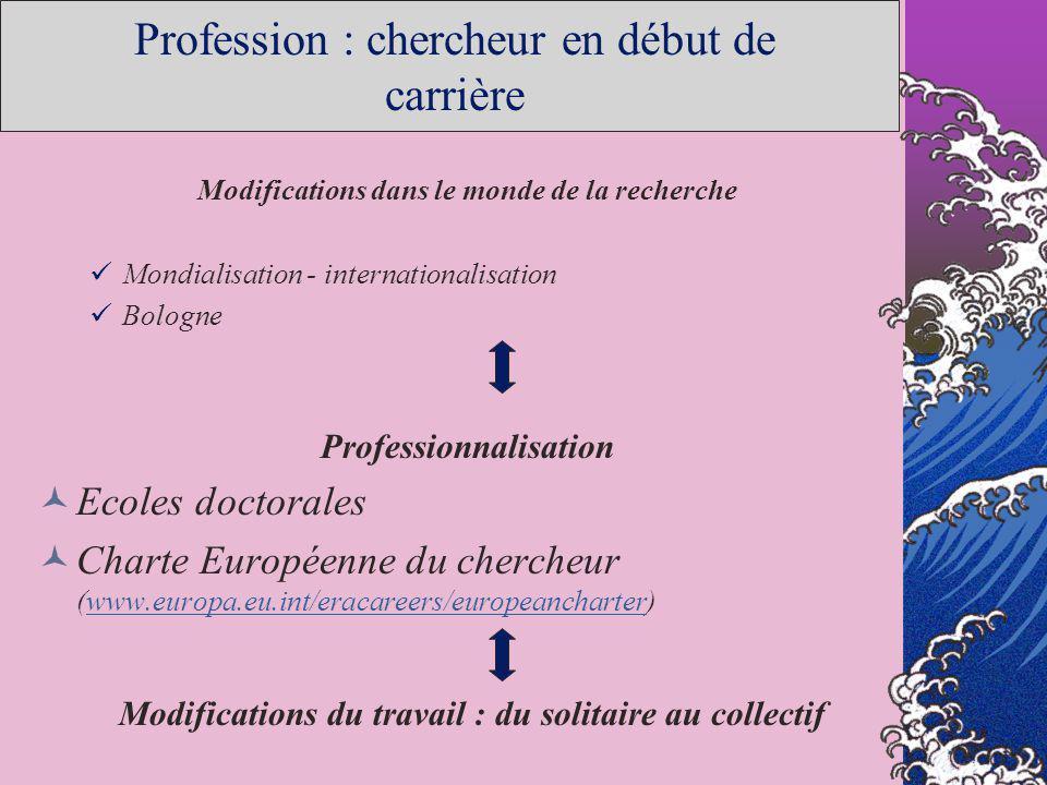 Profession : chercheur en début de carrière Modifications dans le monde de la recherche Mondialisation - internationalisation Bologne Professionnalisa