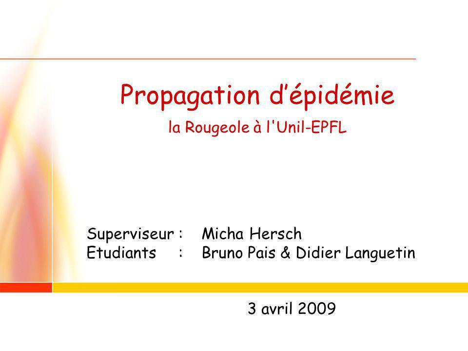 1 Propagation dépidémie la Rougeole à l Unil-EPFL Superviseur : Micha Hersch Etudiants : Bruno Pais & Didier Languetin 3 avril 2009