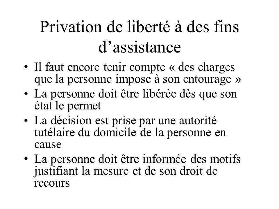 Privation de liberté à des fins dassistance Il faut encore tenir compte « des charges que la personne impose à son entourage » La personne doit être l
