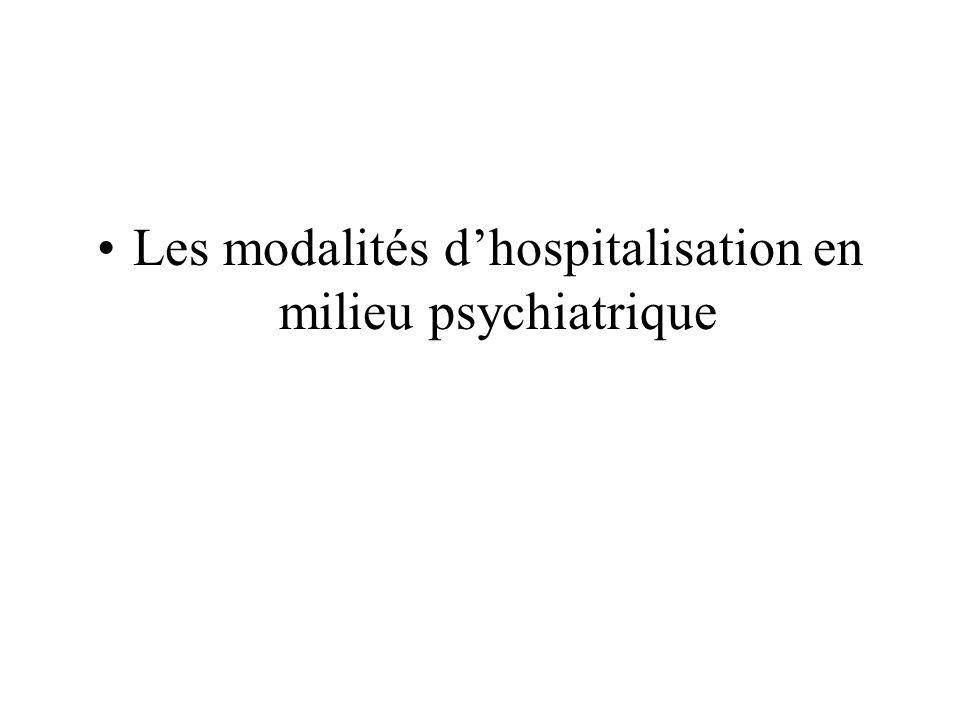 Les modalités dhospitalisation en milieu psychiatrique