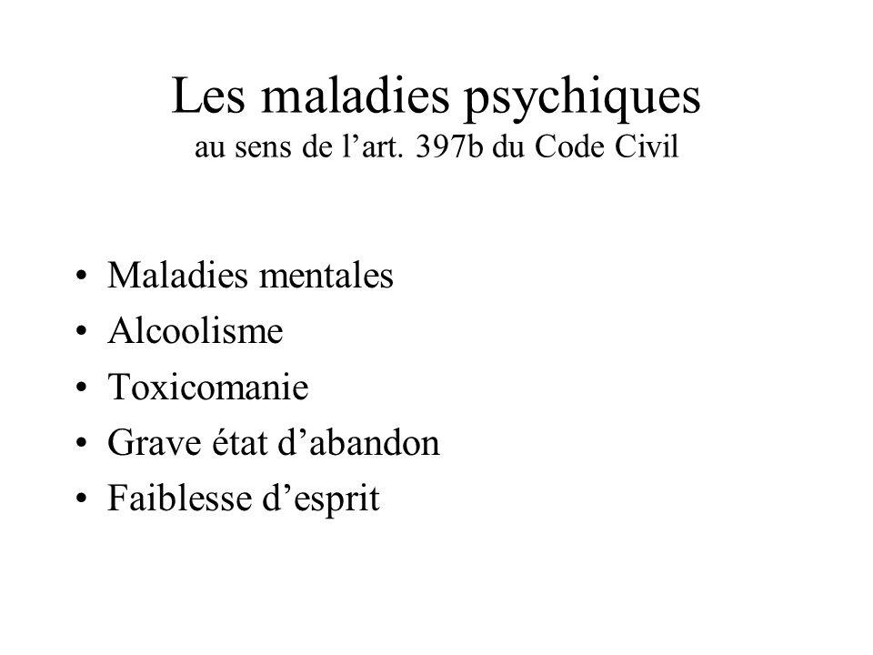 Les maladies psychiques au sens de lart. 397b du Code Civil Maladies mentales Alcoolisme Toxicomanie Grave état dabandon Faiblesse desprit