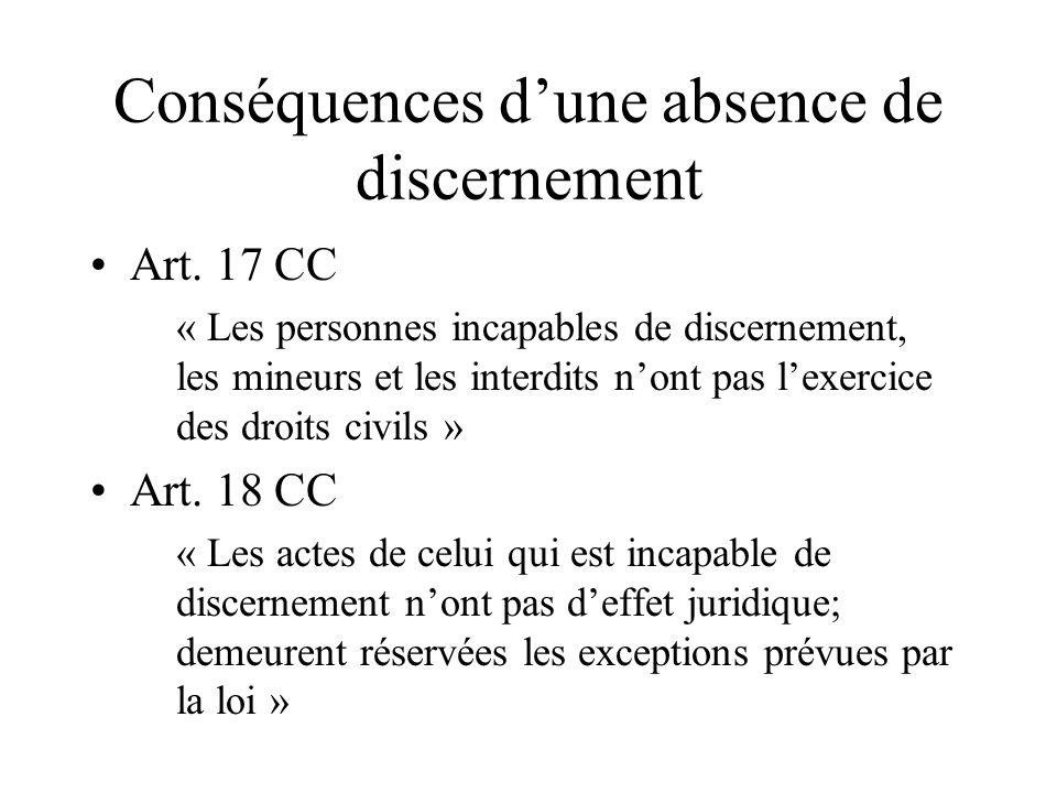 Conséquences dune absence de discernement Art. 17 CC « Les personnes incapables de discernement, les mineurs et les interdits nont pas lexercice des d