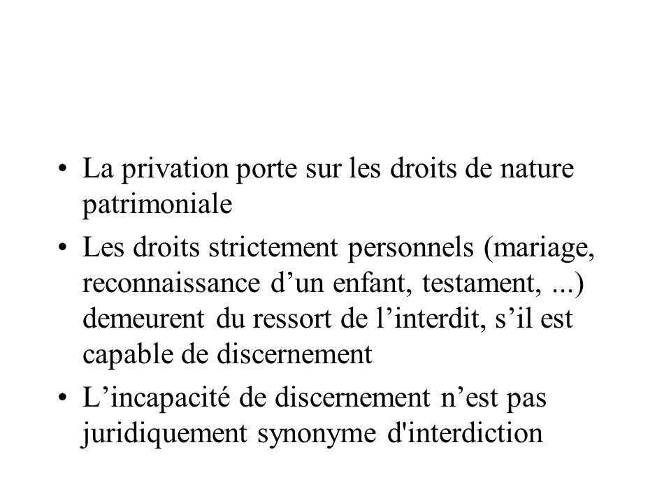 La privation porte sur les droits de nature patrimoniale Les droits strictement personnels (mariage, reconnaissance dun enfant, testament,...) demeure