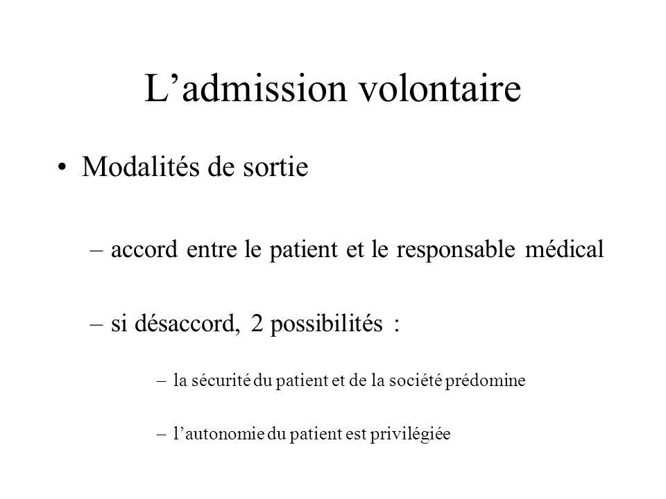 Ladmission volontaire Modalités de sortie –accord entre le patient et le responsable médical –si désaccord, 2 possibilités : –la sécurité du patient e