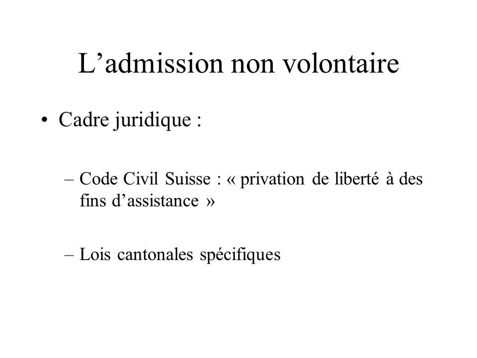 Ladmission non volontaire Cadre juridique : –Code Civil Suisse : « privation de liberté à des fins dassistance » –Lois cantonales spécifiques