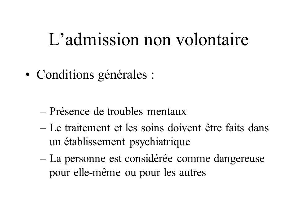 Ladmission non volontaire Conditions générales : –Présence de troubles mentaux –Le traitement et les soins doivent être faits dans un établissement ps