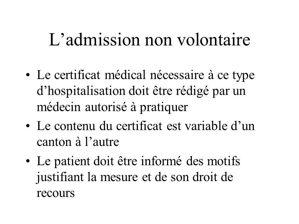 Ladmission non volontaire Le certificat médical nécessaire à ce type dhospitalisation doit être rédigé par un médecin autorisé à pratiquer Le contenu
