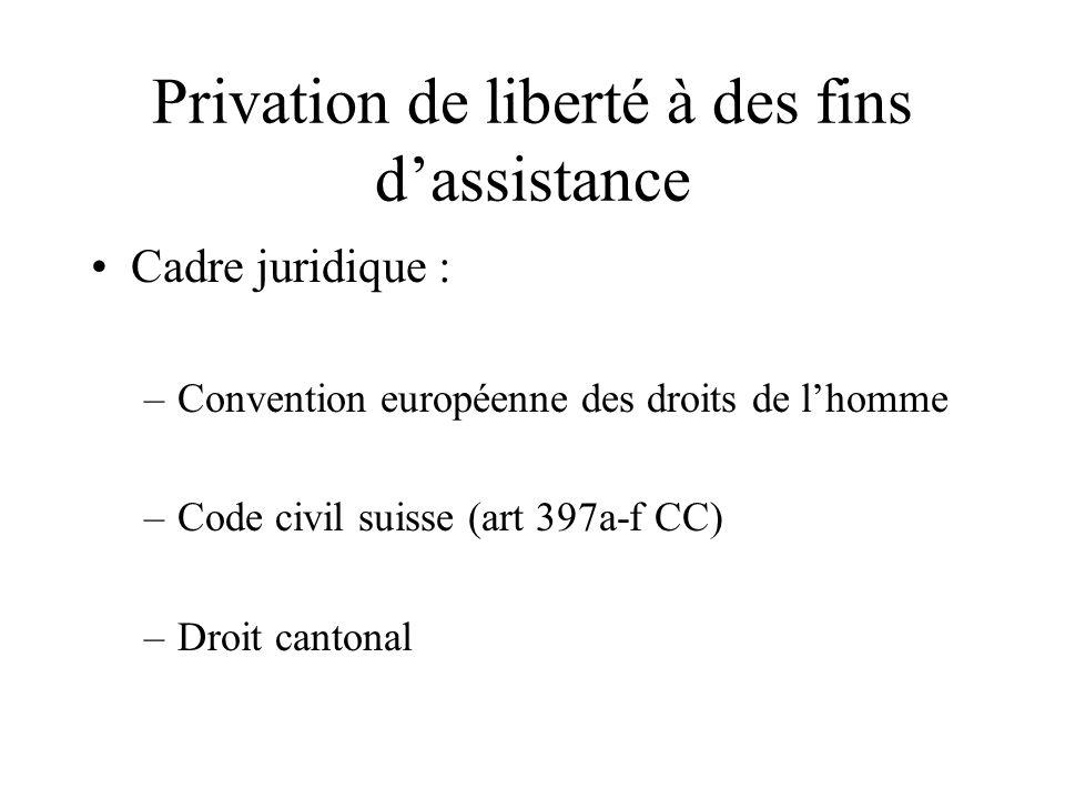 Privation de liberté à des fins dassistance Cadre juridique : –Convention européenne des droits de lhomme –Code civil suisse (art 397a-f CC) –Droit ca