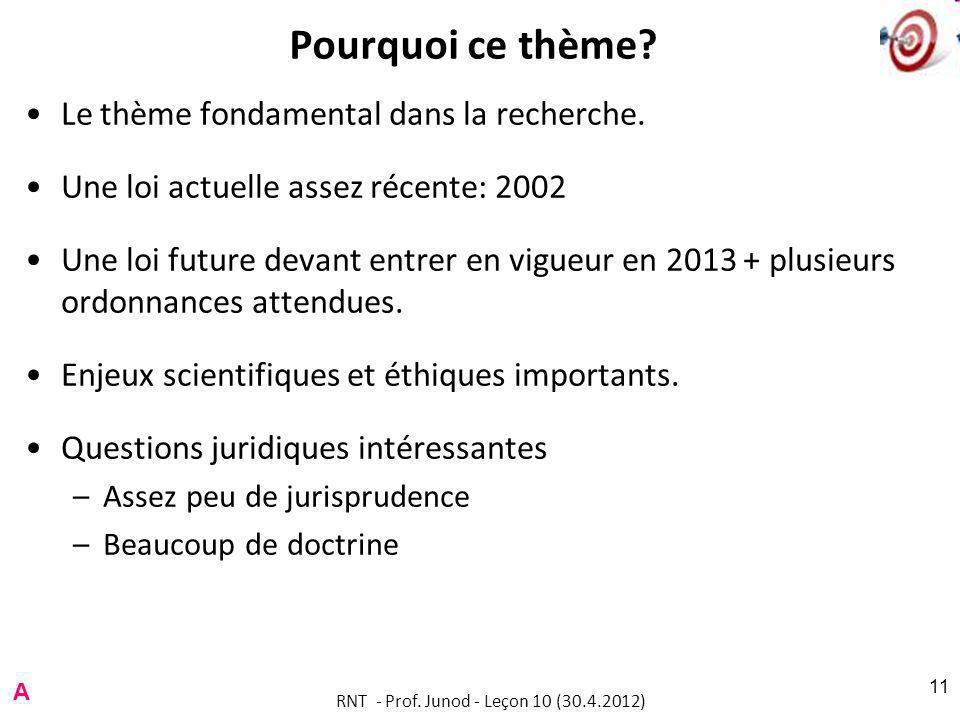 RNT - Prof.Junod - Leçon 10 (30.4.2012) 11 Pourquoi ce thème.