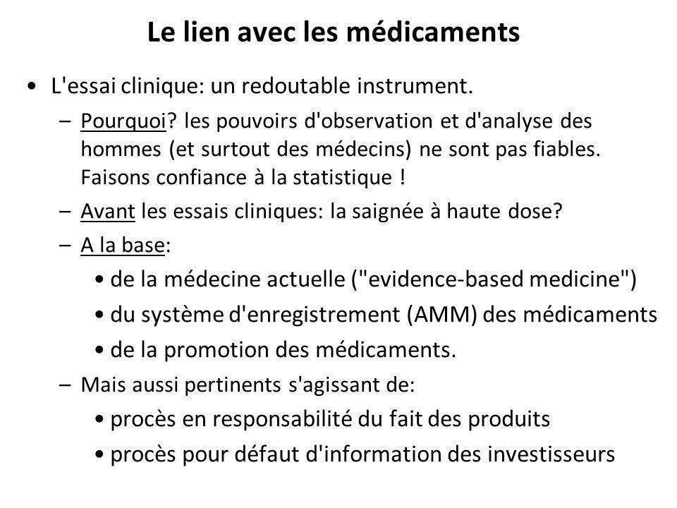 Le lien avec les médicaments L essai clinique: un redoutable instrument.