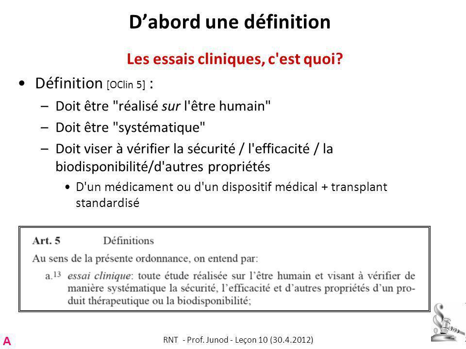 Dabord une définition Les essais cliniques, c est quoi.