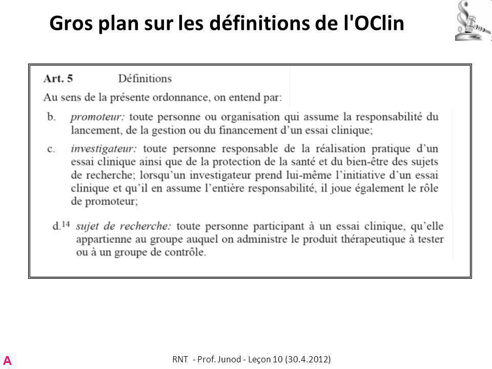 Gros plan sur les définitions de l OClin A RNT - Prof. Junod - Leçon 10 (30.4.2012)
