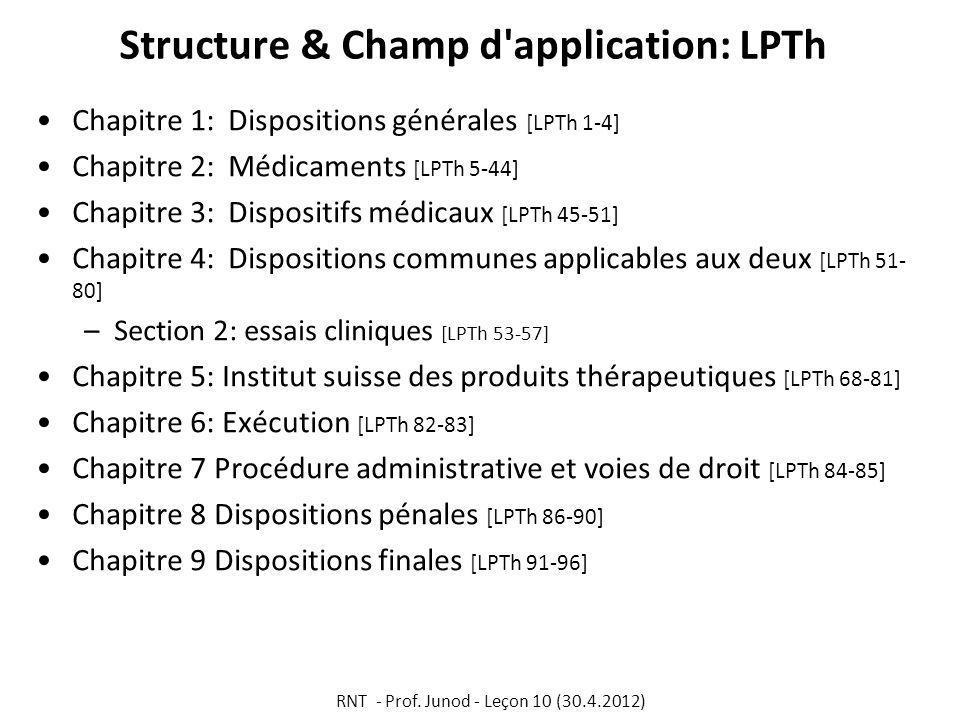 Structure & Champ d application: LPTh Chapitre 1: Dispositions générales [LPTh 1-4] Chapitre 2:Médicaments [LPTh 5-44] Chapitre 3: Dispositifs médicaux [LPTh 45-51] Chapitre 4: Dispositions communes applicables aux deux [LPTh 51- 80] –Section 2: essais cliniques [LPTh 53-57] Chapitre 5: Institut suisse des produits thérapeutiques [LPTh 68-81] Chapitre 6: Exécution [LPTh 82-83] Chapitre 7 Procédure administrative et voies de droit [LPTh 84-85] Chapitre 8 Dispositions pénales [LPTh 86-90] Chapitre 9 Dispositions finales [LPTh 91-96] RNT - Prof.