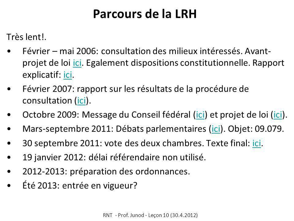 Parcours de la LRH Très lent!.Février – mai 2006: consultation des milieux intéressés.