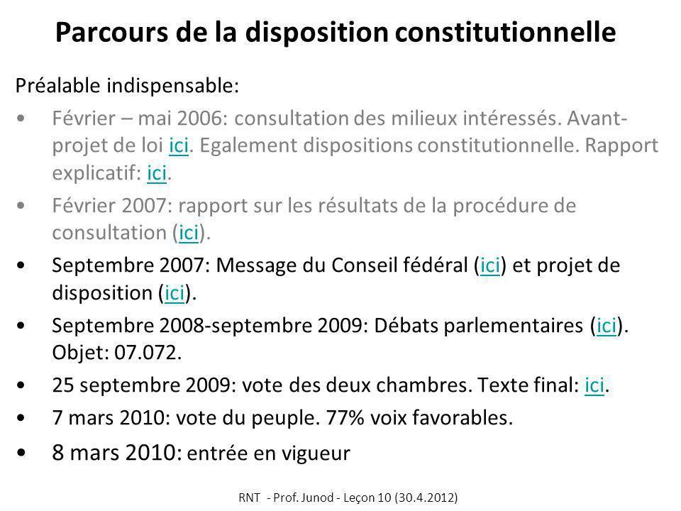 Parcours de la disposition constitutionnelle Préalable indispensable: Février – mai 2006: consultation des milieux intéressés.