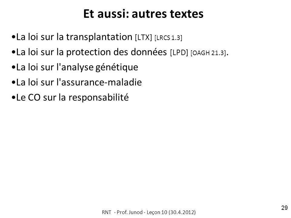 Et aussi: autres textes La loi sur la transplantation [LTX] [LRCS 1.3] La loi sur la protection des données [LPD] [OAGH 21.3].
