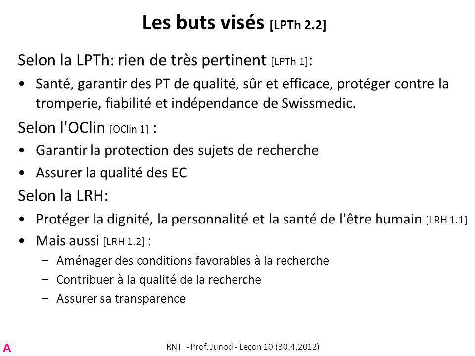 Les buts visés [LPTh 2.2] Selon la LPTh: rien de très pertinent [LPTh 1] : Santé, garantir des PT de qualité, sûr et efficace, protéger contre la tromperie, fiabilité et indépendance de Swissmedic.