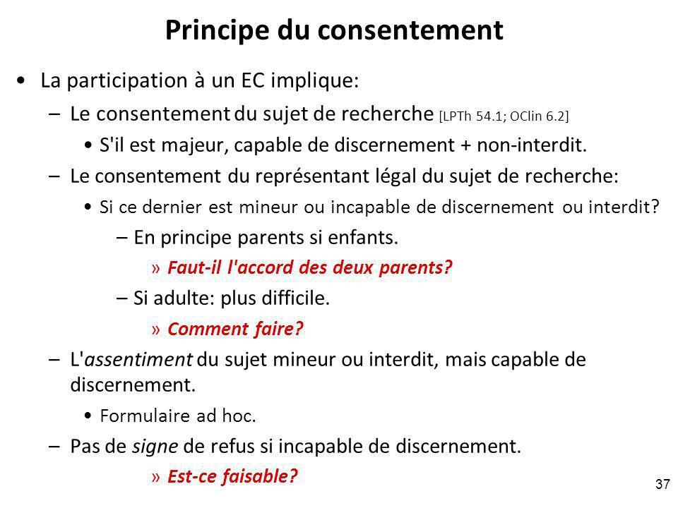 Principe du consentement La participation à un EC implique: –Le consentement du sujet de recherche [LPTh 54.1; OClin 6.2] S il est majeur, capable de discernement + non-interdit.