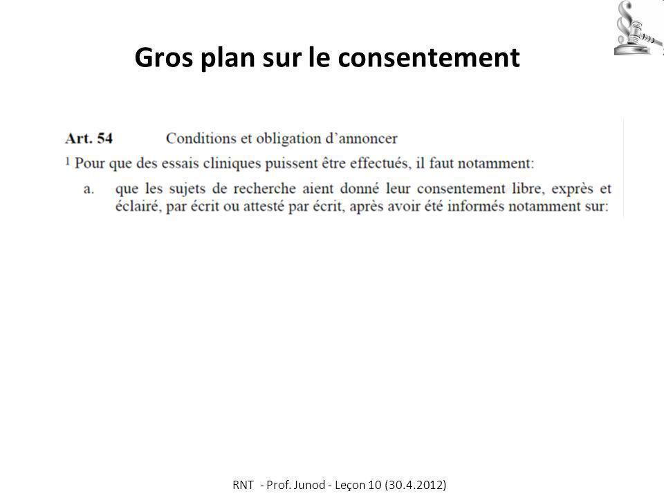 Gros plan sur le consentement RNT - Prof. Junod - Leçon 10 (30.4.2012)