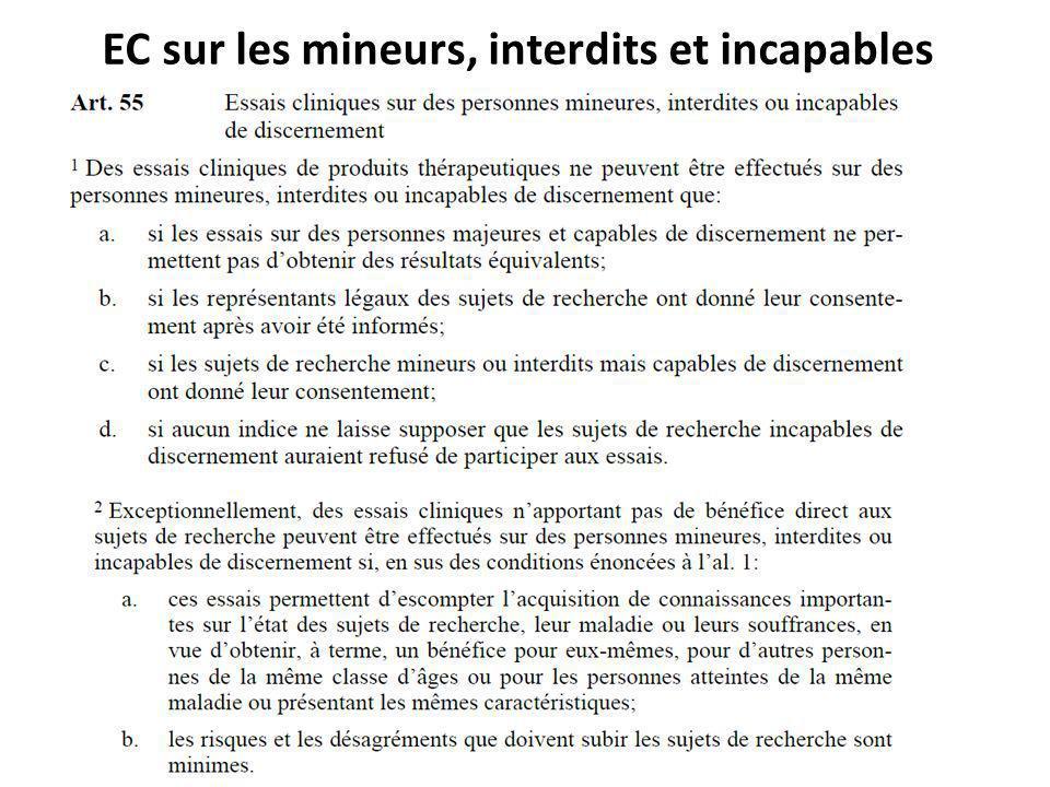 EC sur les mineurs, interdits et incapables