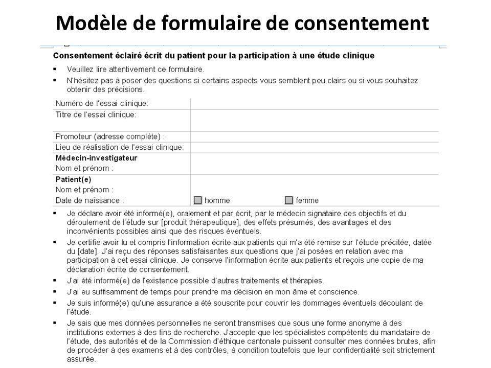 Modèle de formulaire de consentement