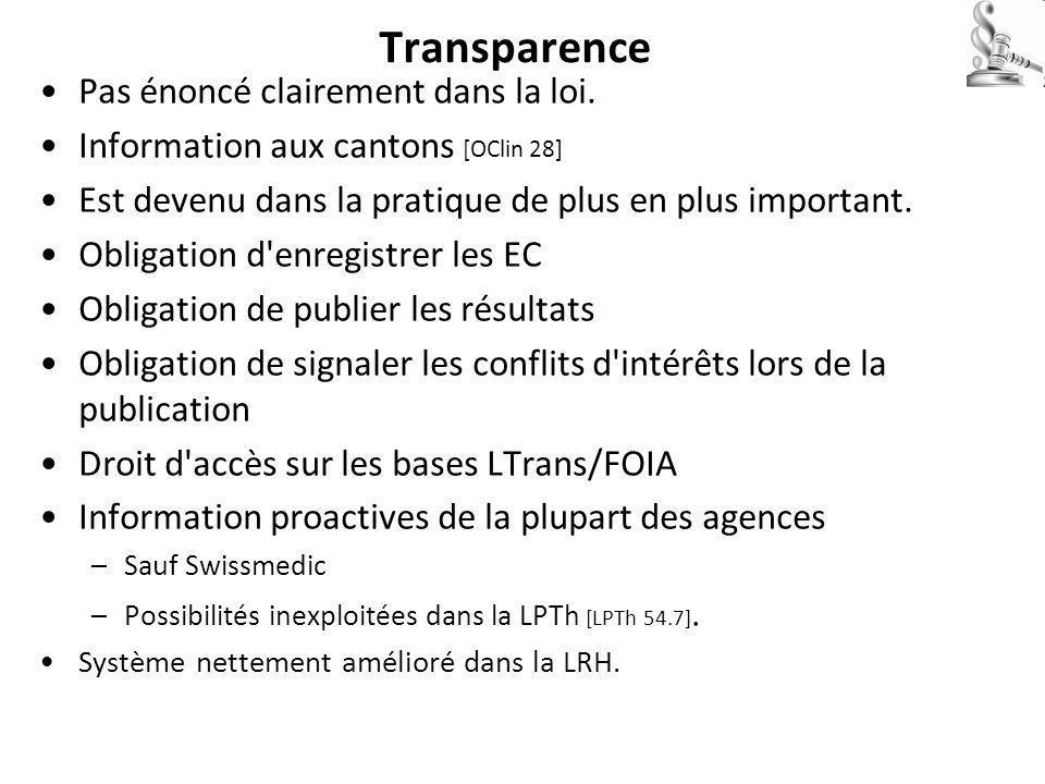 Transparence Pas énoncé clairement dans la loi.