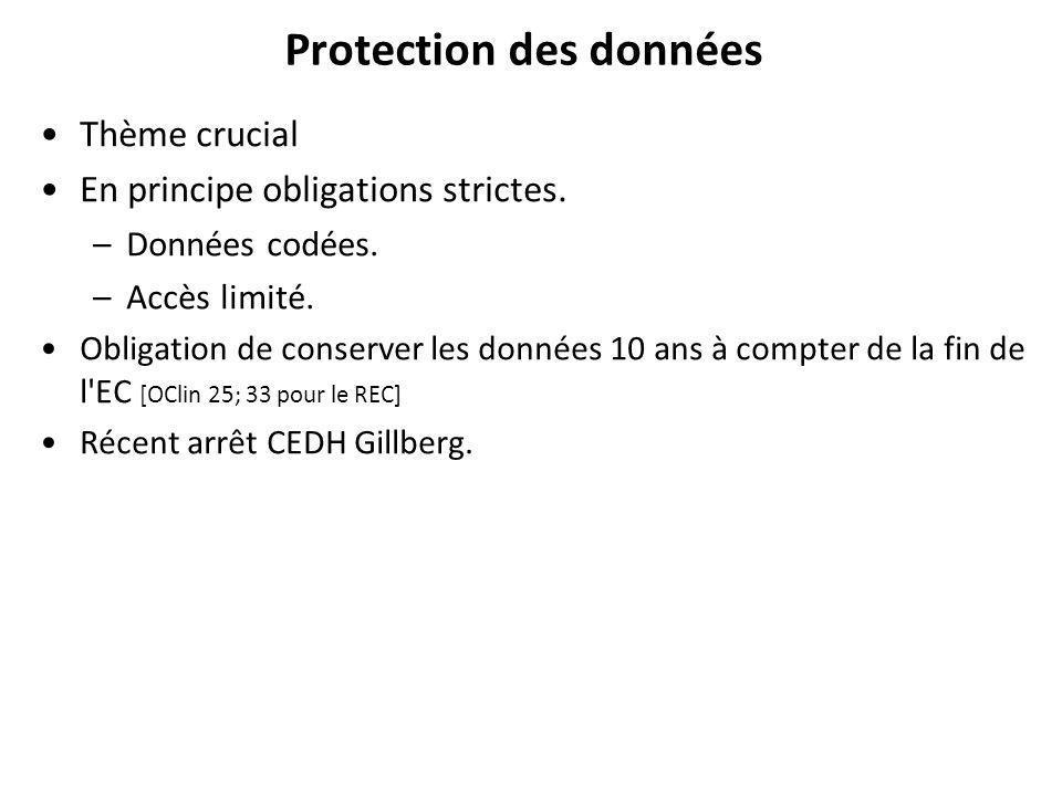 Protection des données Thème crucial En principe obligations strictes.