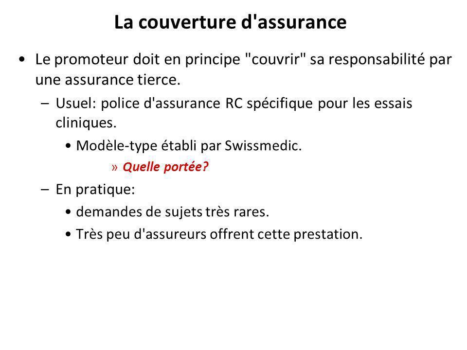 La couverture d assurance Le promoteur doit en principe couvrir sa responsabilité par une assurance tierce.